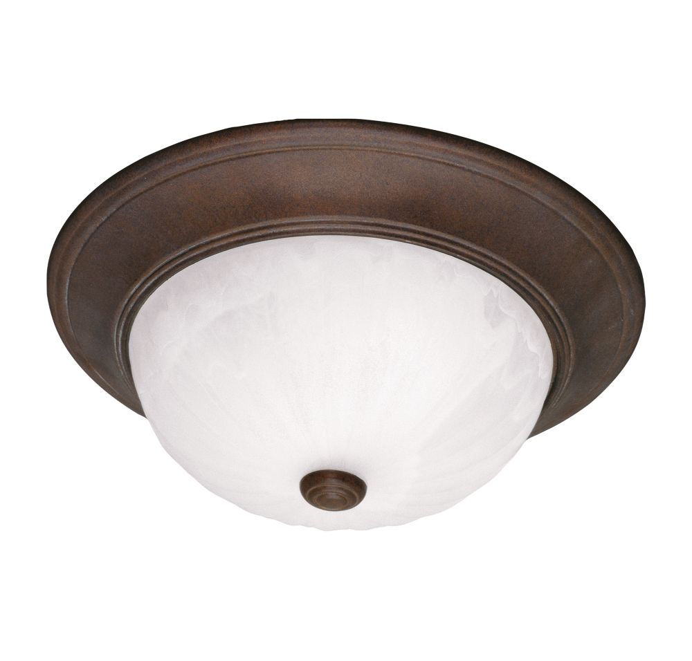Satin 3-Light Bronze Flush Mount with Multicolor Glass