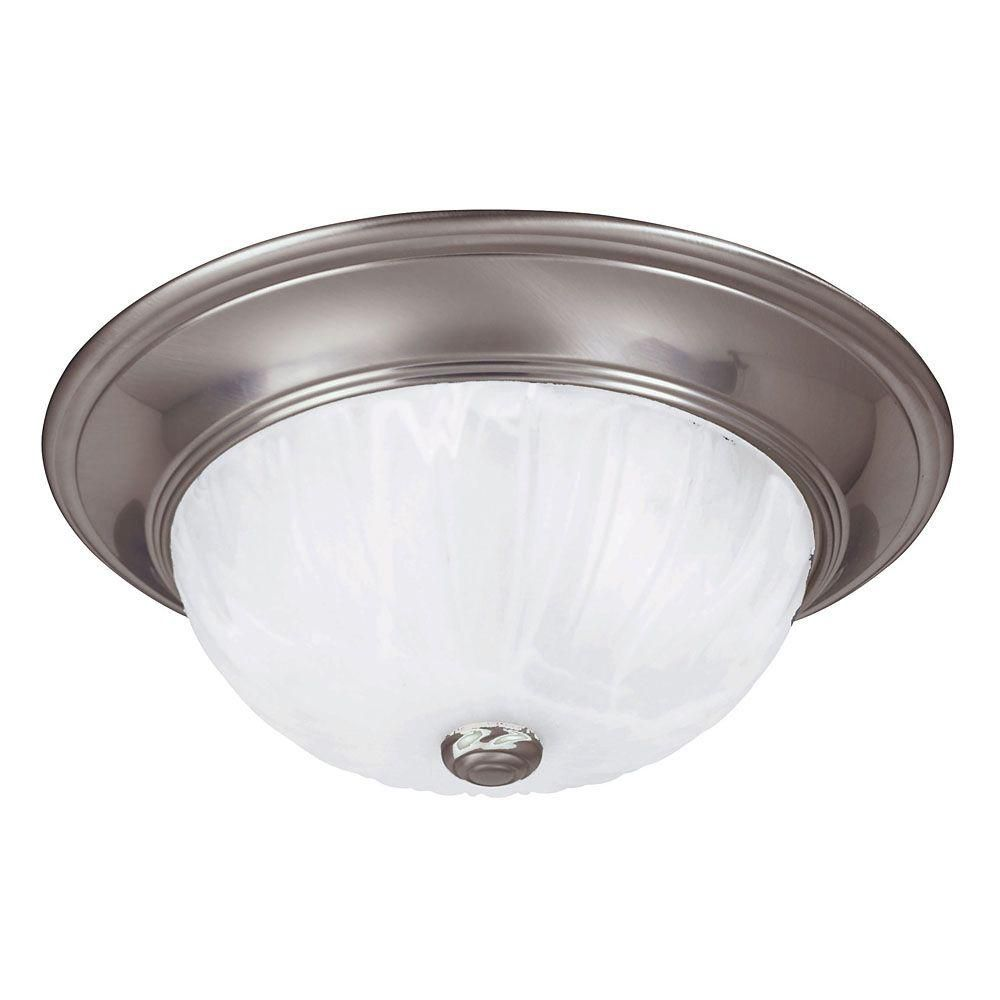 Satin 2 Light Nickel Incandescent Flush Mount With MultiColour Glass