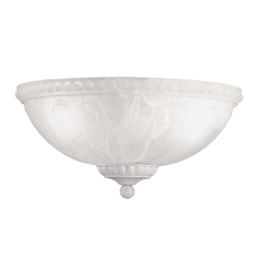 Satin 3-Light White Fan Light Kit with White Glass