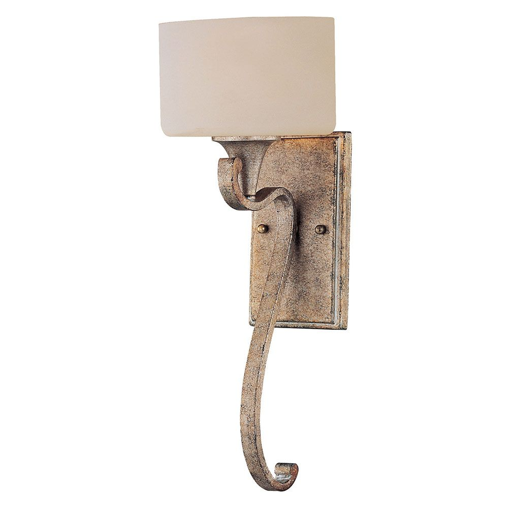 Satin 1-Light Gold Wall Sconce with White Glass