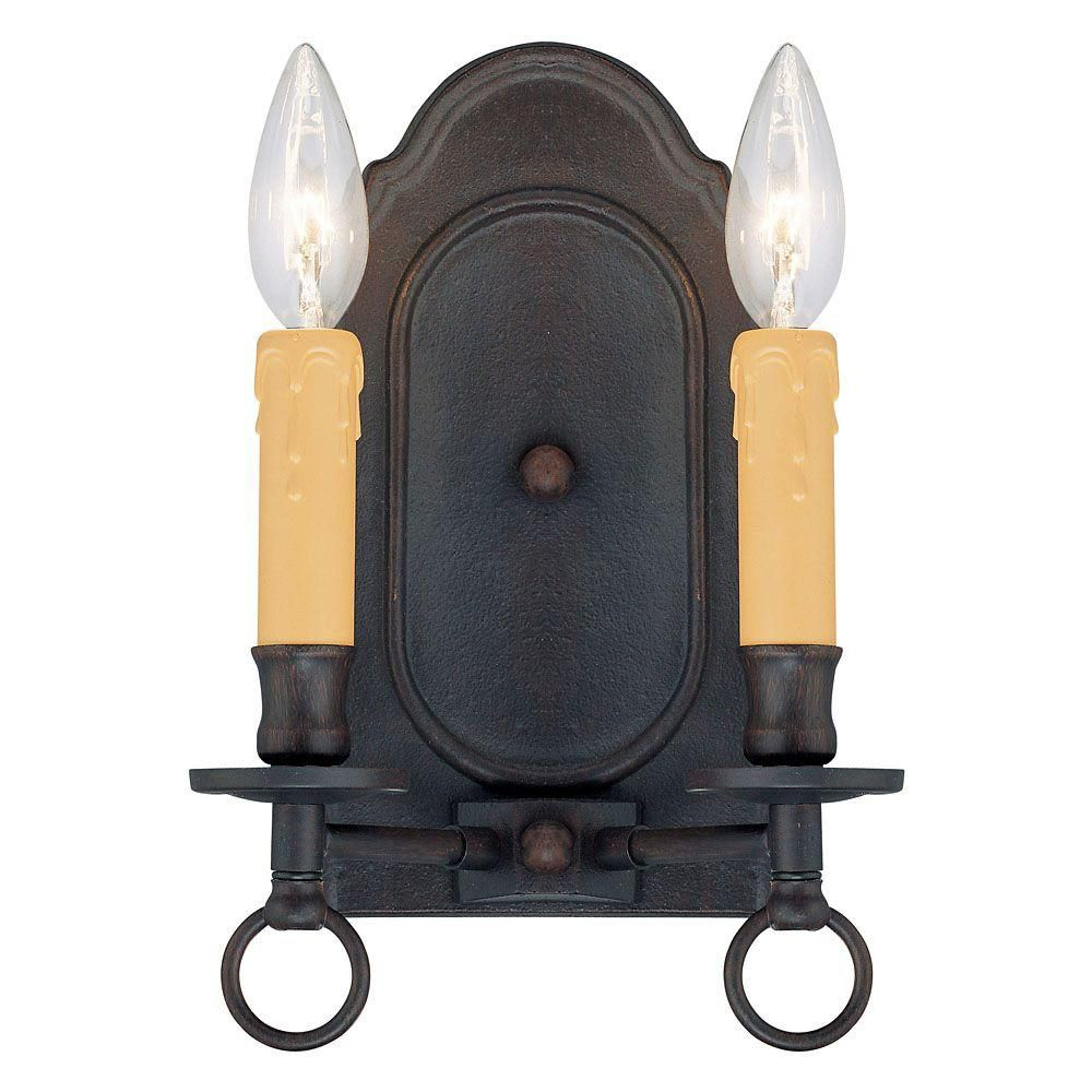 Satin 2-Light Bronze Wall Sconce