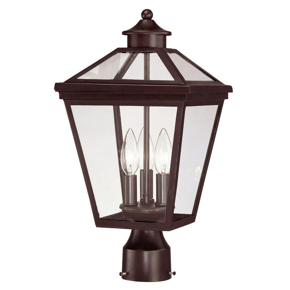 Satin 3 Light Bronze Halogen Outdoor Post Lantern With Clear Glass CLI-SH20198175 in Canada