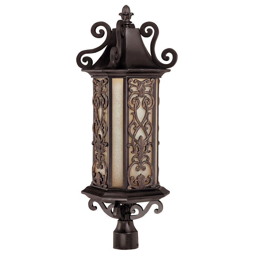 Satin 6-Light Black Outdoor Post Lantern with Multicolor Glass