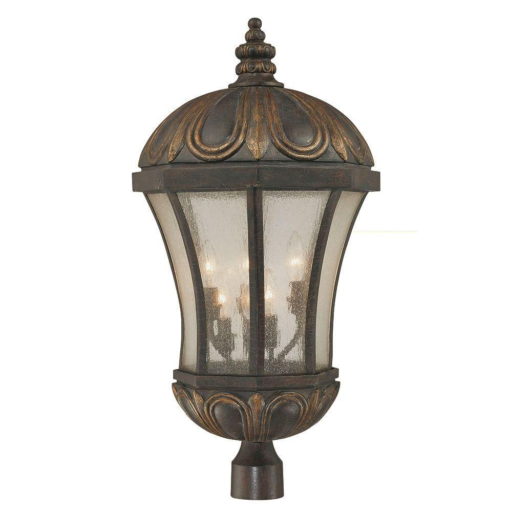 Satin 6 Light Black Halogen Outdoor Post Lantern With White Glass
