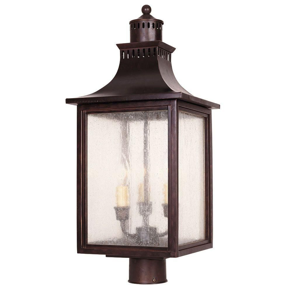 Satin 3 Light Bronze Halogen Outdoor Post Lantern With White Glass