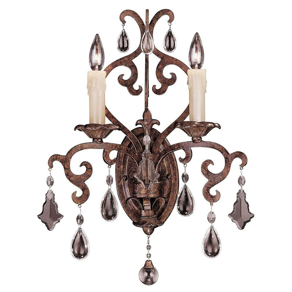 Satin 2-Light Bronze Wall Sconce with Clear Glass