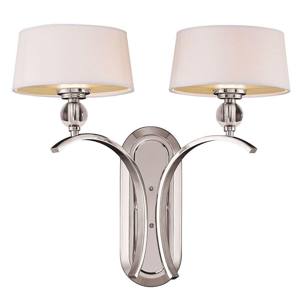 Satin 2 Light Nickel Fluorescent Wall Sconce With White Glass