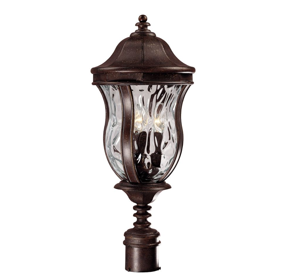 Satin 3-Light Bronze Outdoor Post Lantern with Clear Glass