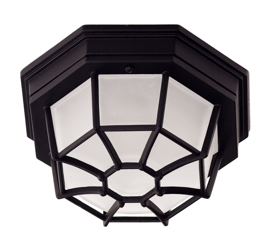 Satin 1-Light Black Outdoor Flush Mount with Frosted Glass