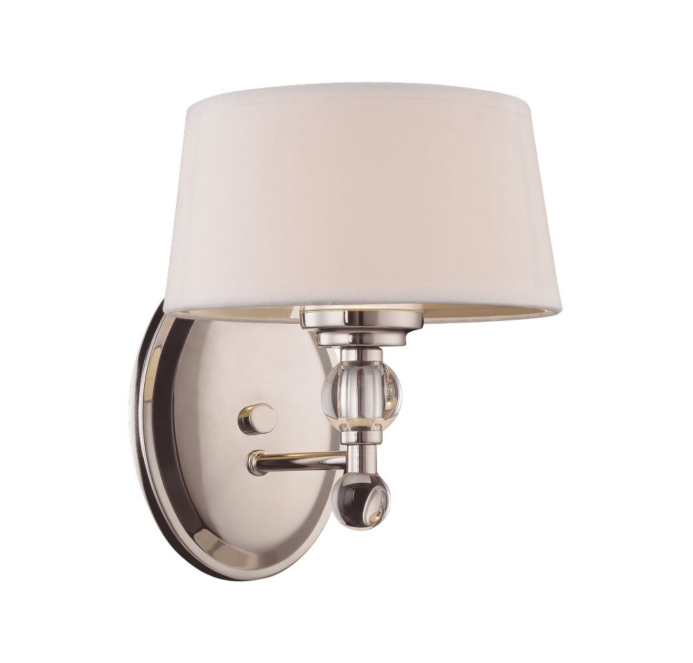 Satin 1 Light Nickel Fluorescent Wall Sconce With White Glass