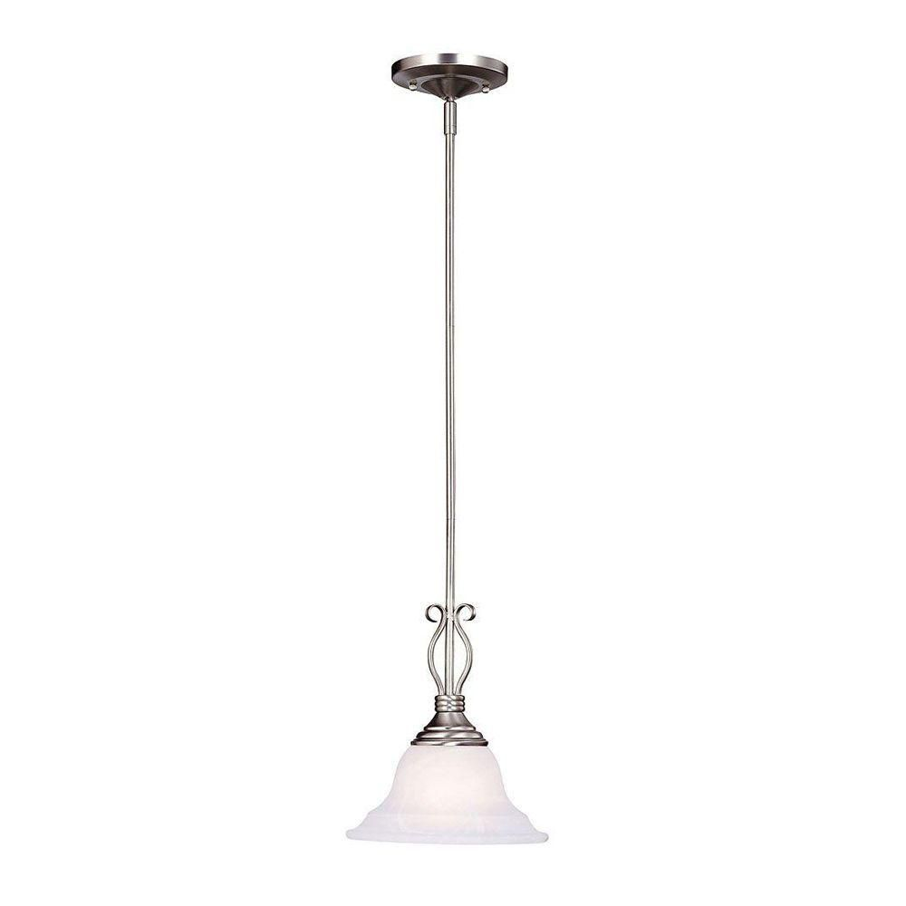 Satin 1-Light Nickel Pendant with White Glass