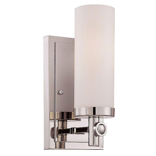 Illumine Satin 1 Light Nickel Incandescent Wall Sconce With White Glass