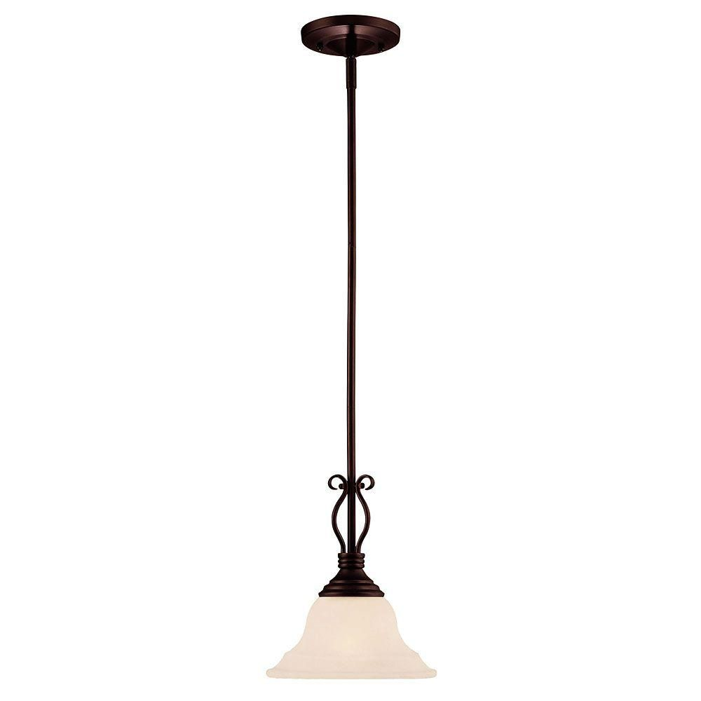 Satin 1-Light Bronze Pendant with White Glass
