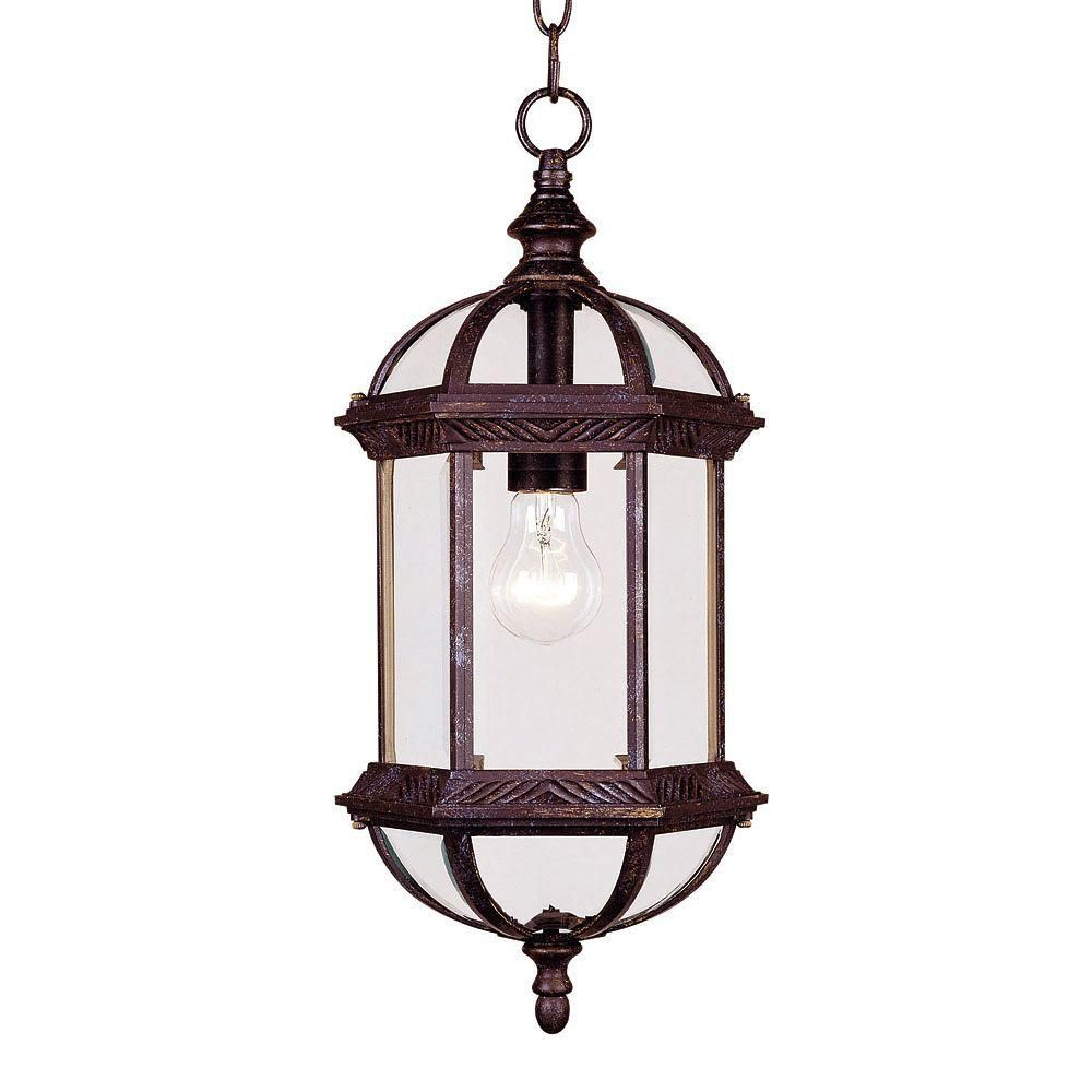 Satin 1 Light Bronze Incandescent Outdoor Hanging Lantern With Clear Glass