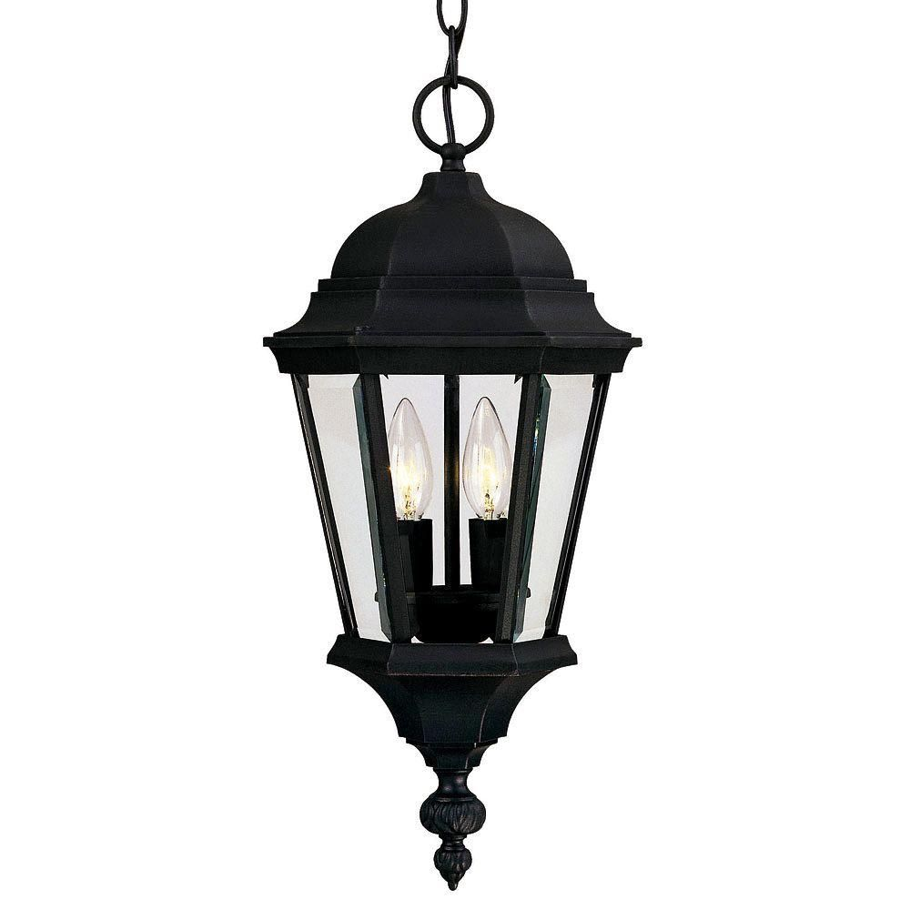 Satin 2 Light Black Halogen Outdoor Hanging Lantern With Clear Glass CLI-SH20068454 Canada Discount