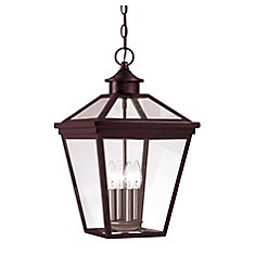 Satin 4 Light Bronze Halogen Outdoor Hanging Lantern With Clear Glass