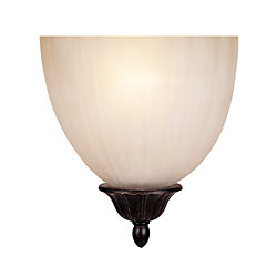 Illumine Satin 1 Light Bronze Incandescent Wall Sconce With White Glass