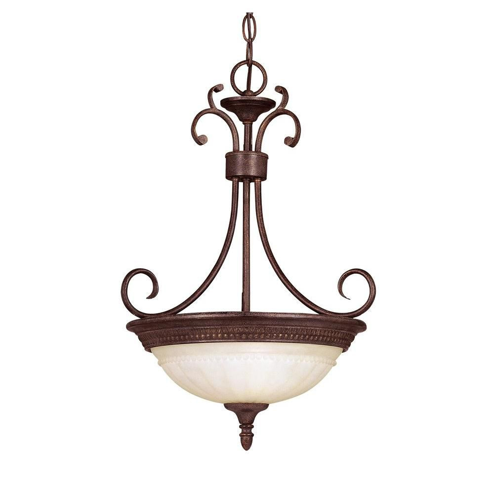 Satin 2 Light Bronze Incandescent Pendant With White Glass