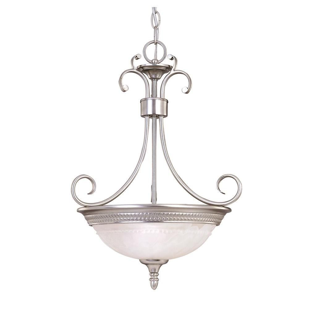 Satin 2 Light Nickel Incandescent Pendant With White Glass