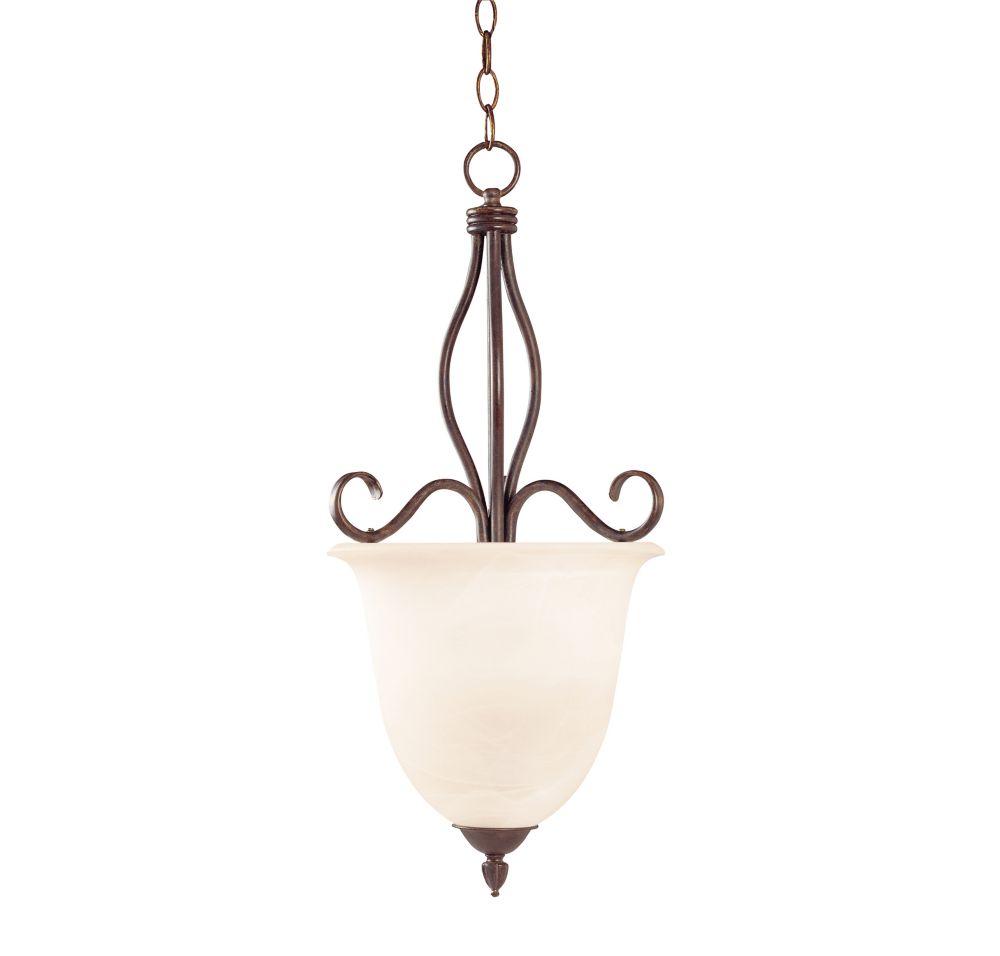 Satin 2-Light Bronze Pendant with White Glass