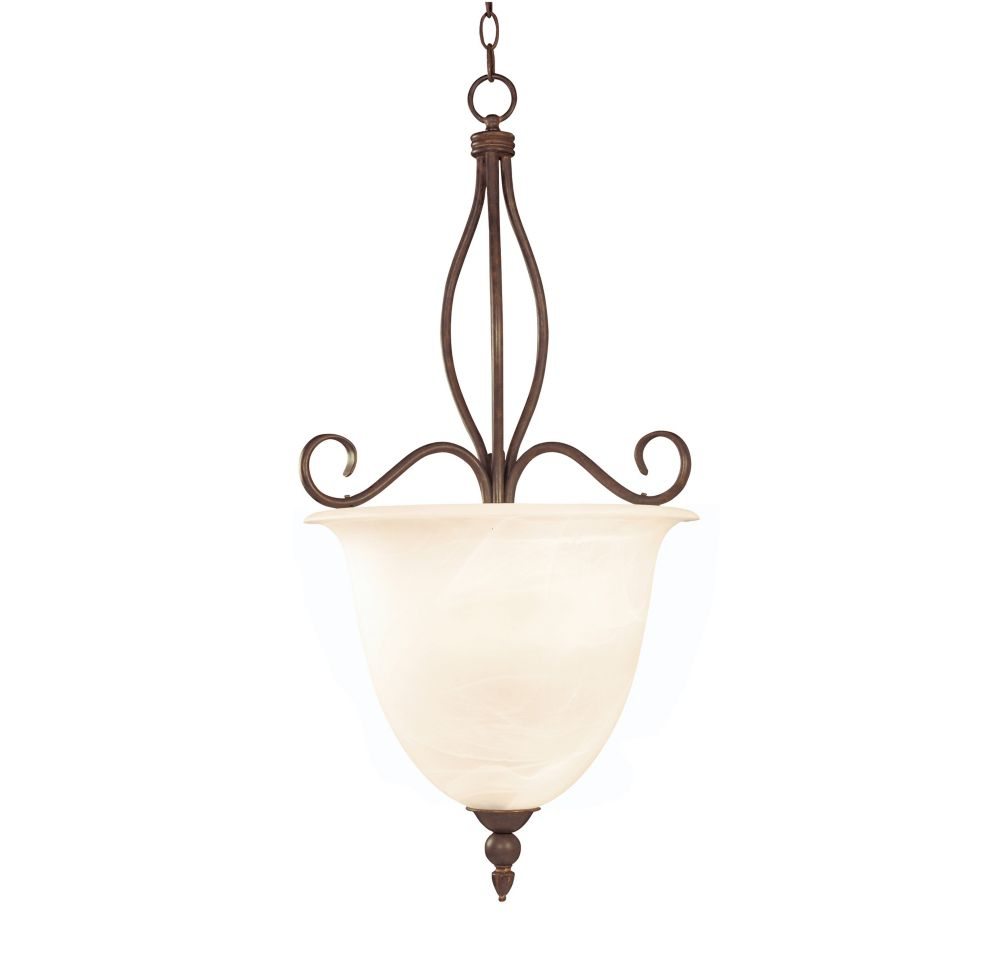 Satin 4-Light Bronze Pendant with White Glass