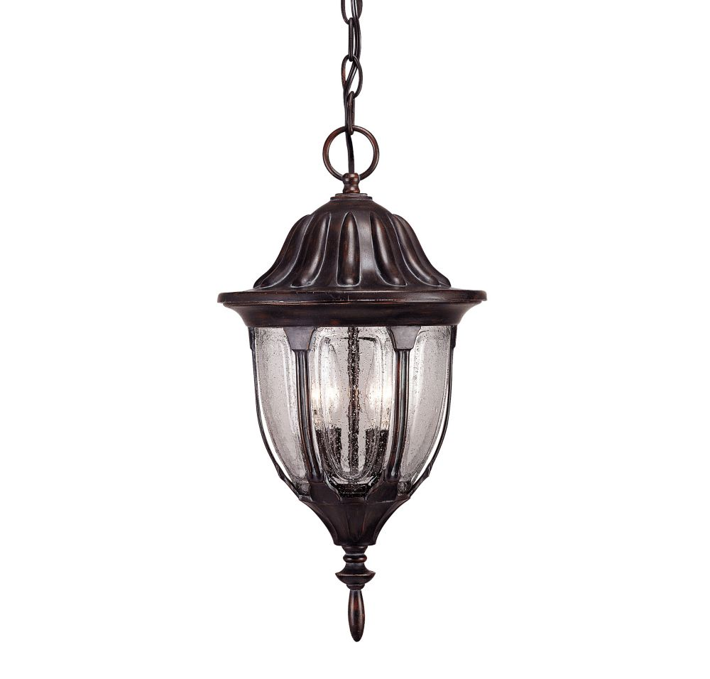Satin 2 Light Bronze Halogen Outdoor Hanging Lantern With Clear Glass