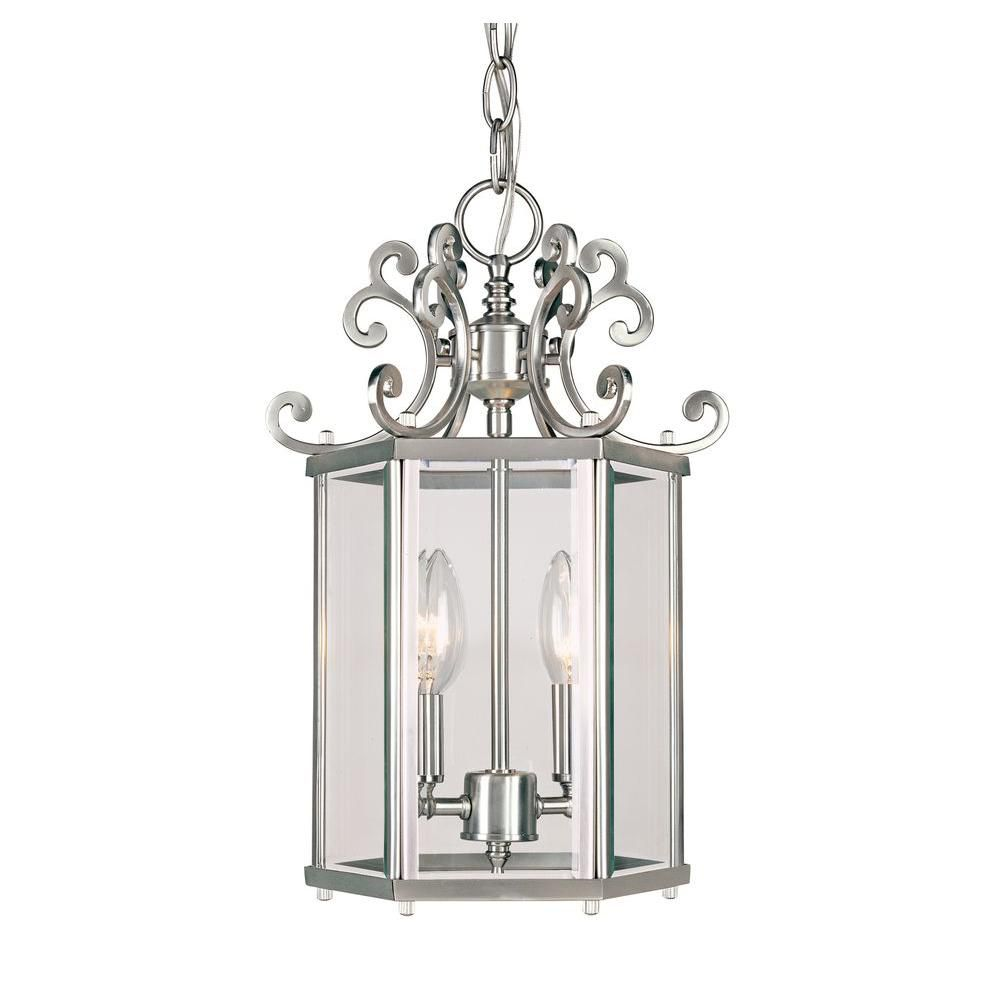 Illumine Satin 2 Light Nickel Incandescent Pendant With Clear Glass