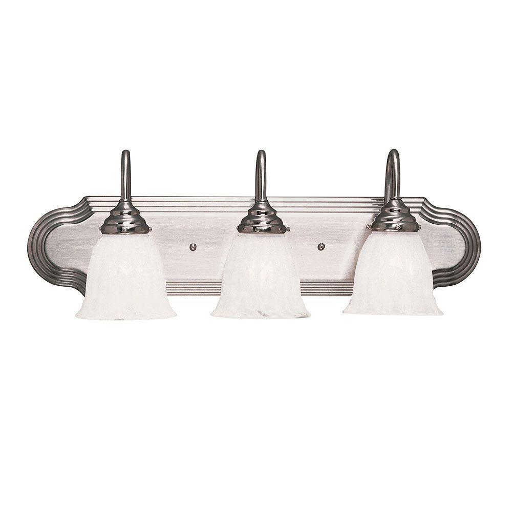 Satin 3-Light Nickel Bath Bar