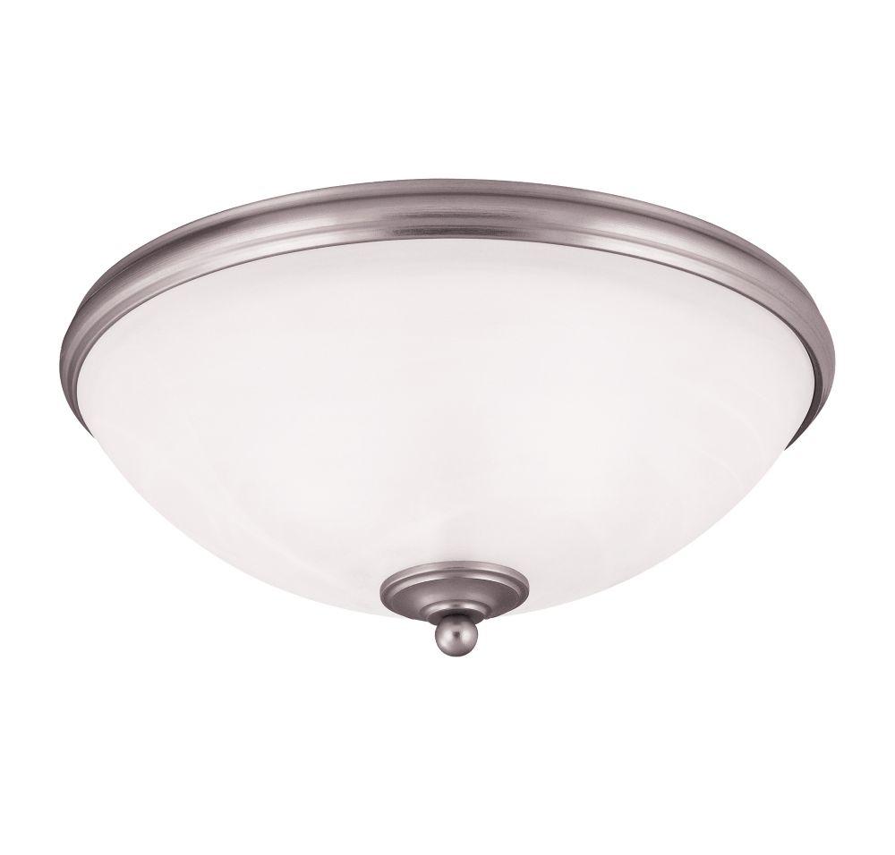 Illumine Satin 3-Light Nickel Flush Mount with White Glass