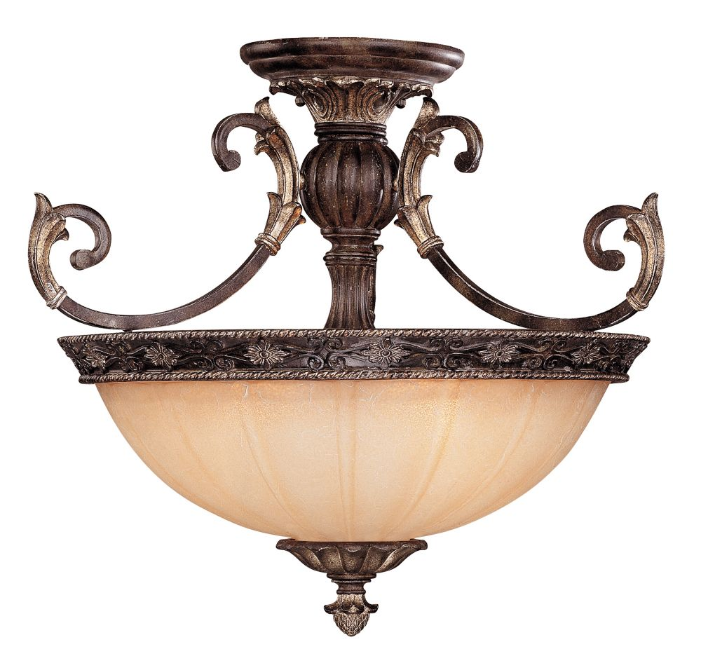 Satin 3 Light Bronze Incandescent Semi-Flush Mount With White Glass
