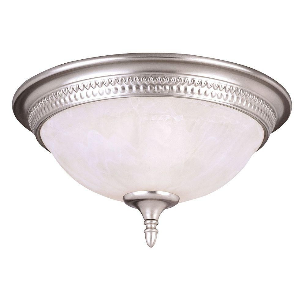 Satin 3 Light Nickel Incandescent Flush Mount With White Glass