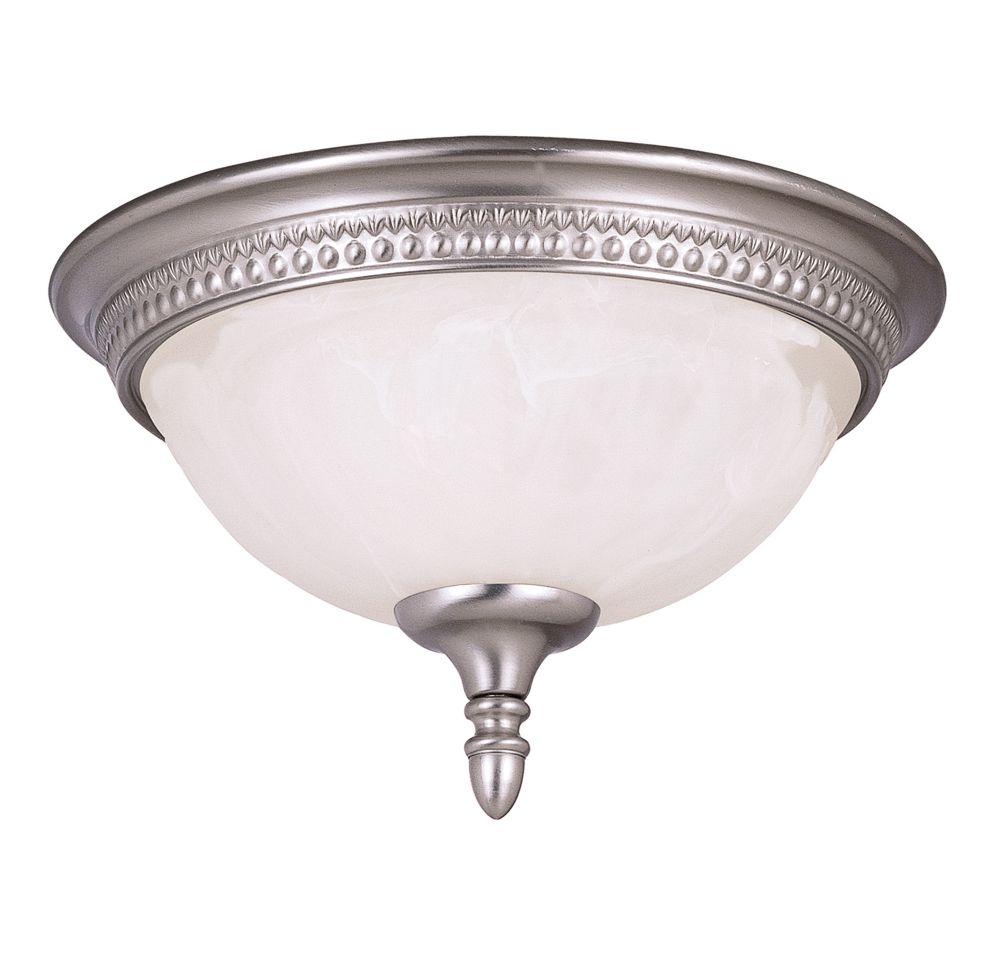 Satin 2-Light Nickel Flush Mount with White Glass
