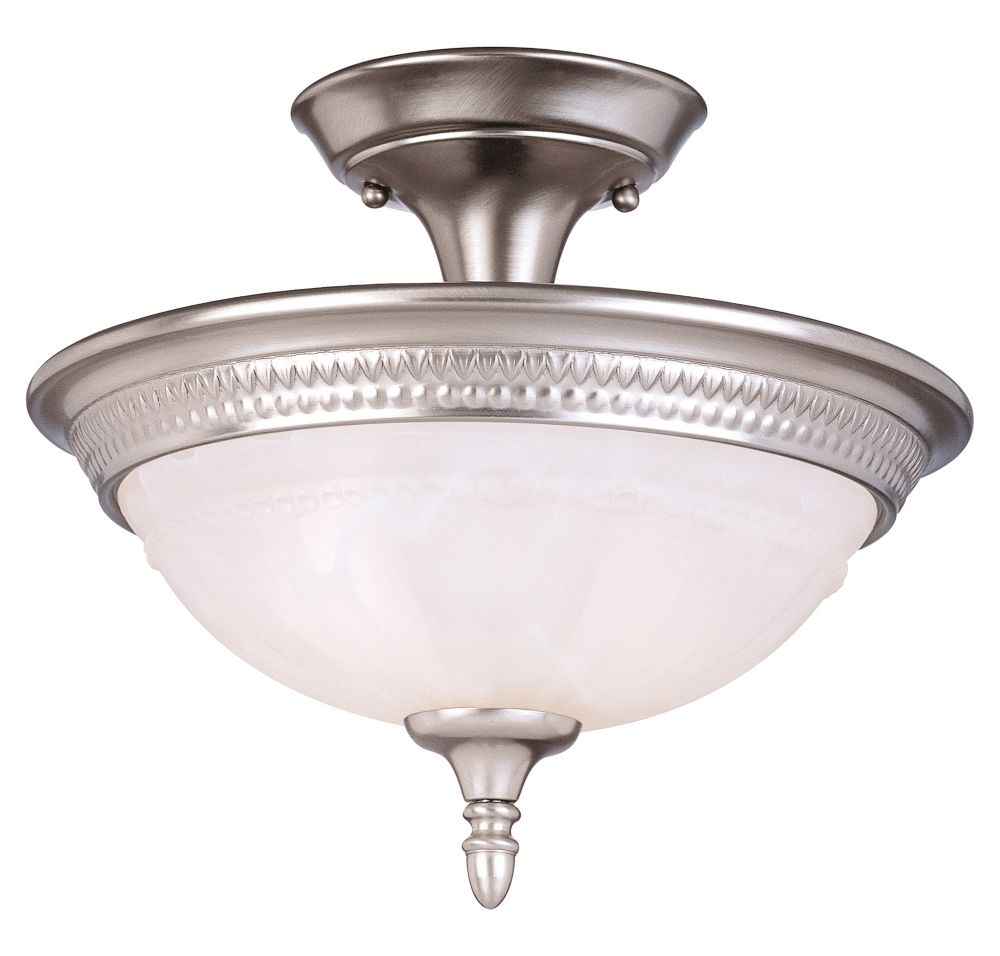 Satin 2 Light Nickel Incandescent Semi-Flush Mount With White Glass