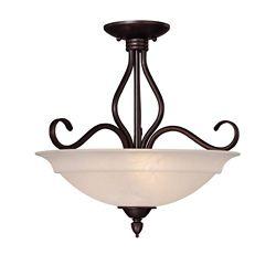 Illumine Satin 3-Light Bronze Semi-Flush Mount with White Glass
