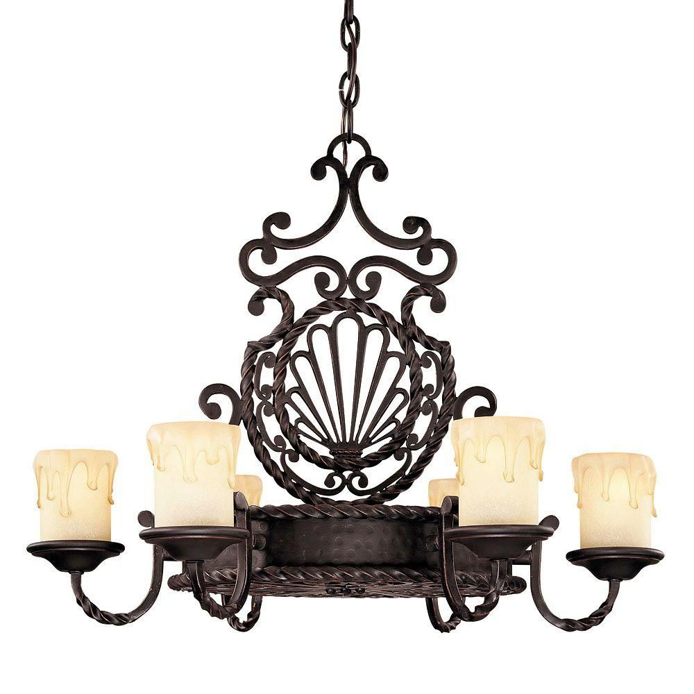 Satin 6 Light Black Incandescent Chandelier With White Glass