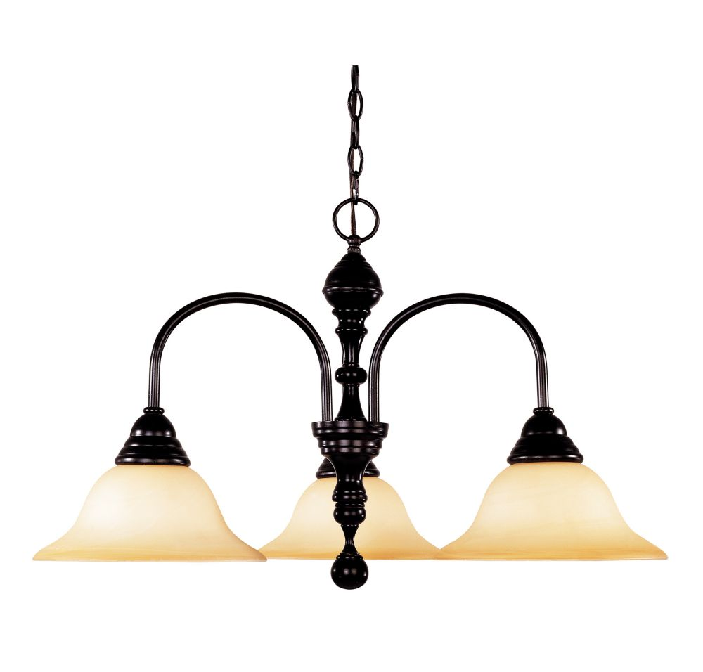 Satin 3-Light Bronze Chandelier with White Glass