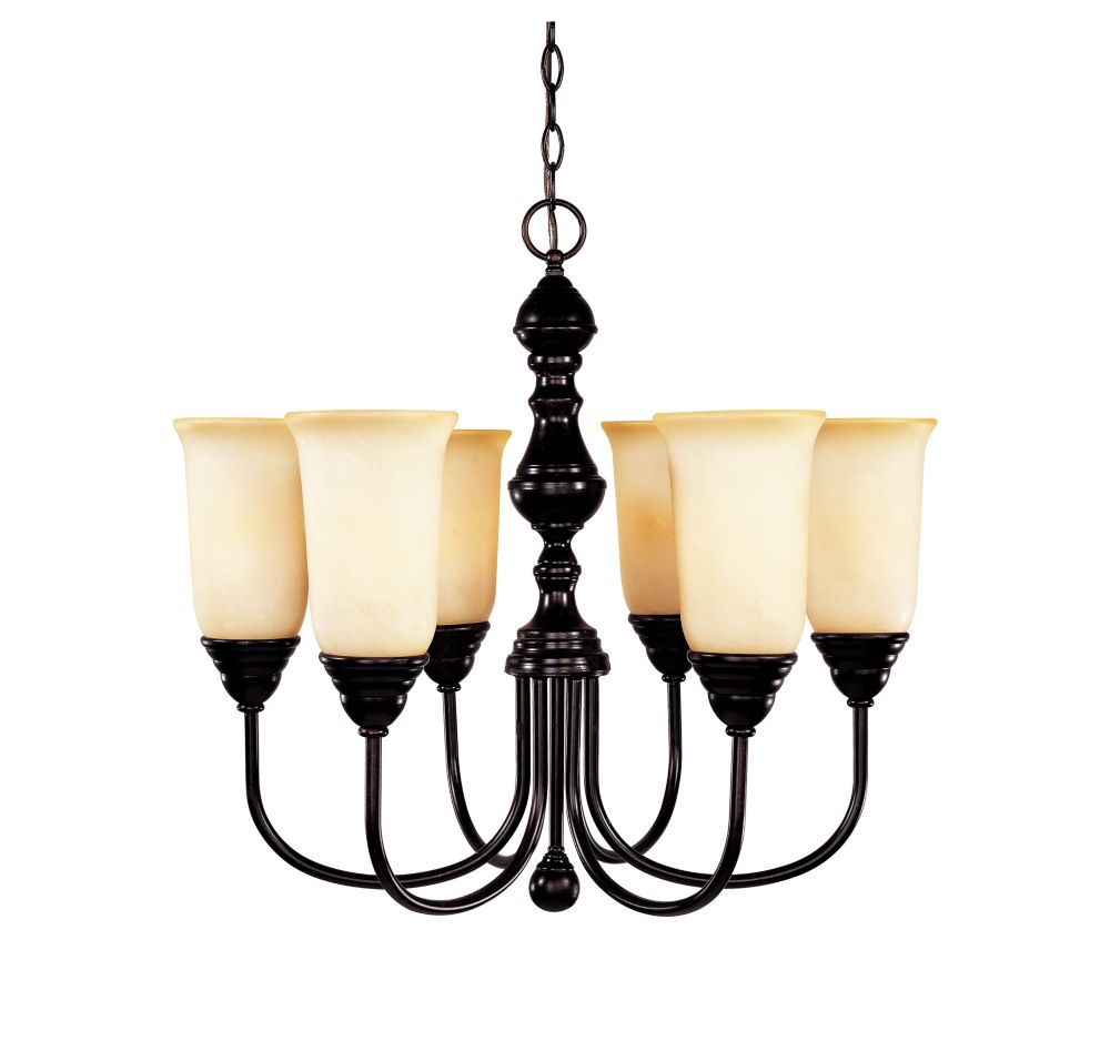 Satin 6 Light Bronze Incandescent Chandelier With White Glass
