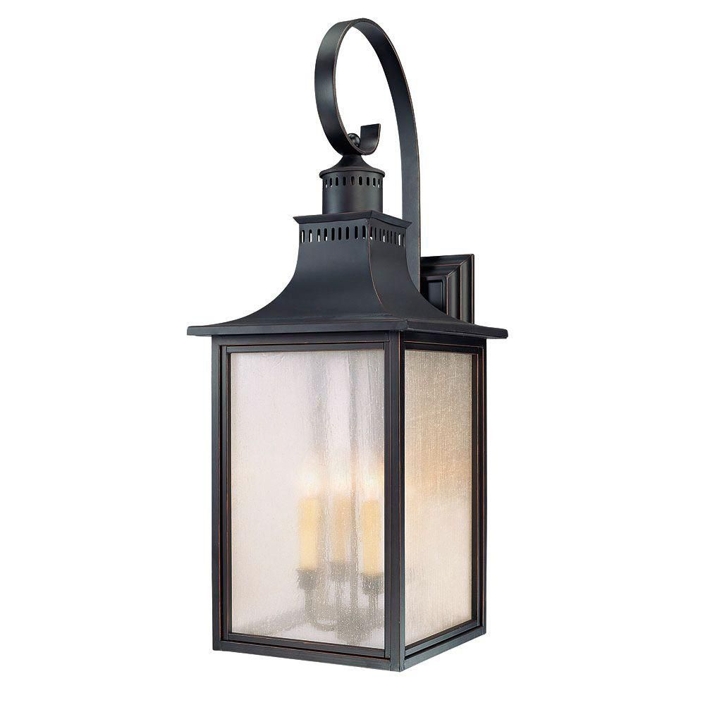 Satin 4 Light Black Halogen Outdoor Wall Mount With White Glass