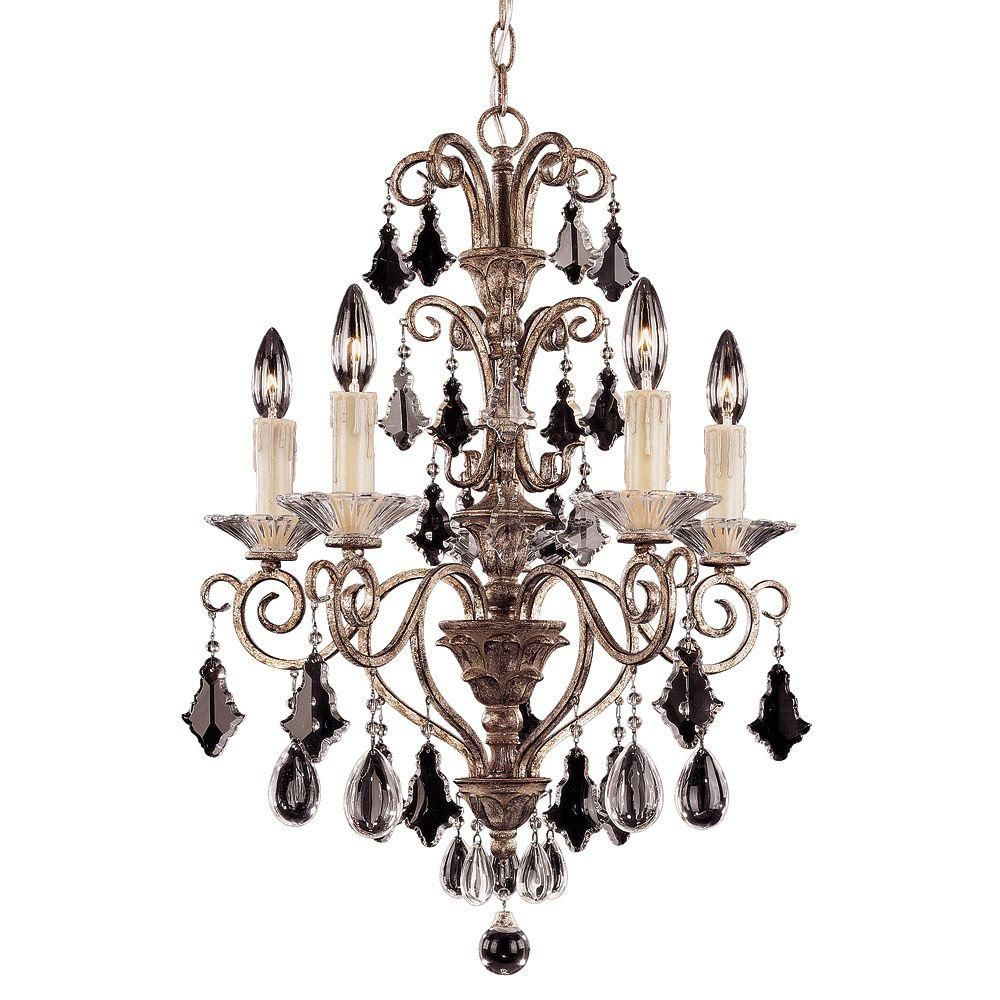 Satin 5 Light Bronze Incandescent Chandelier With Clear Glass