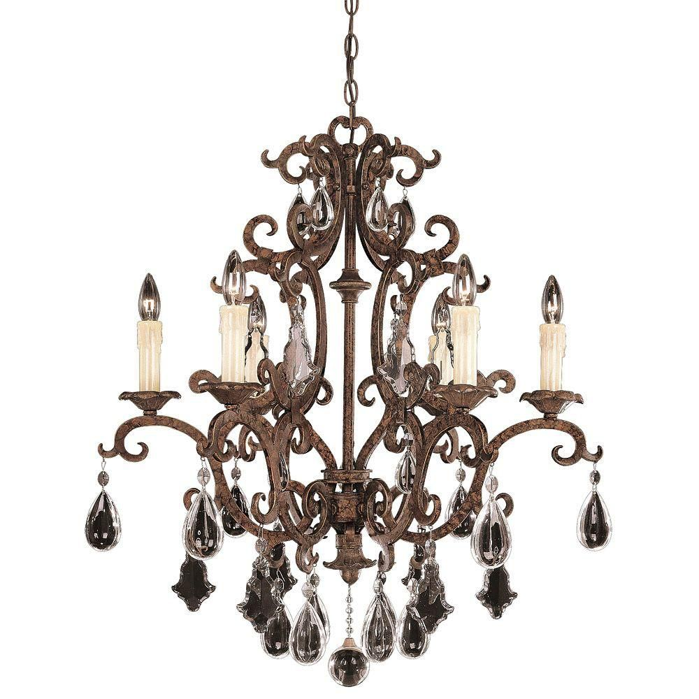 Satin 6 Light Bronze Incandescent Chandelier With Clear Glass