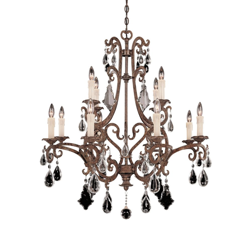 Satin 12-Light Bronze Chandelier with Clear Glass