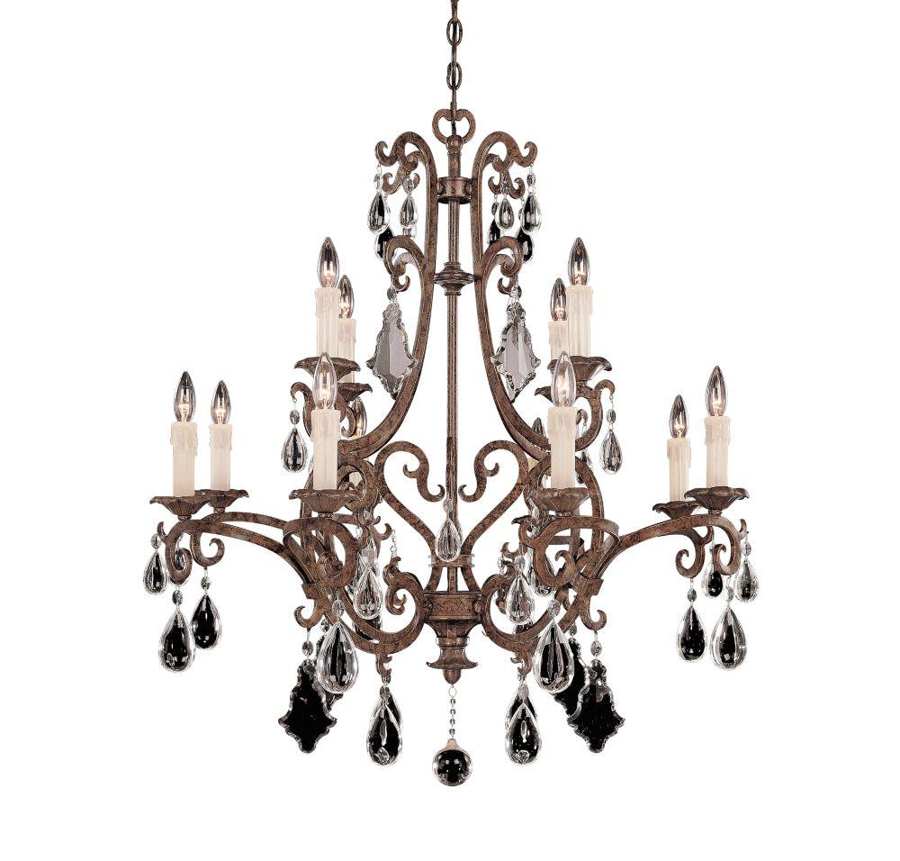 Illumine Satin 12-Light Bronze Chandelier with Clear Glass