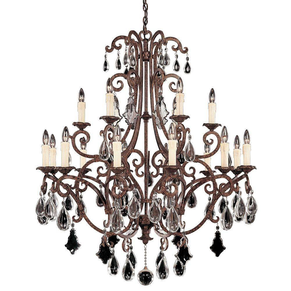 Satin 18 Light Bronze Incandescent Chandelier With Clear Glass