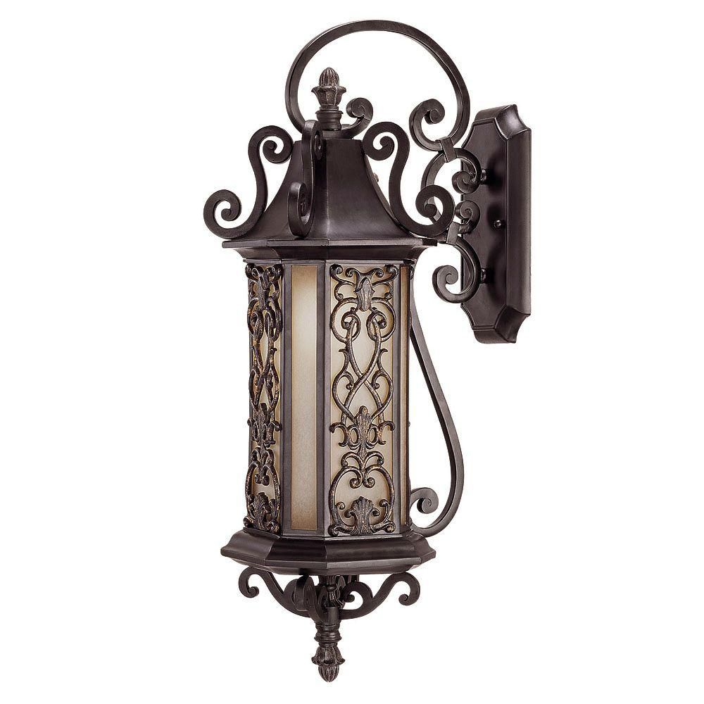 Satin 1-Light Black Outdoor Wall Mount with Multicolor Glass