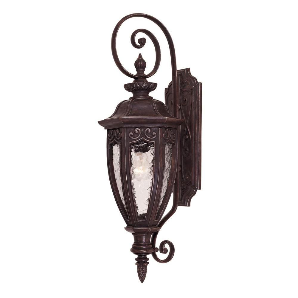 Satin 1-Light Bronze Outdoor Wall Mount with Multicolor Glass