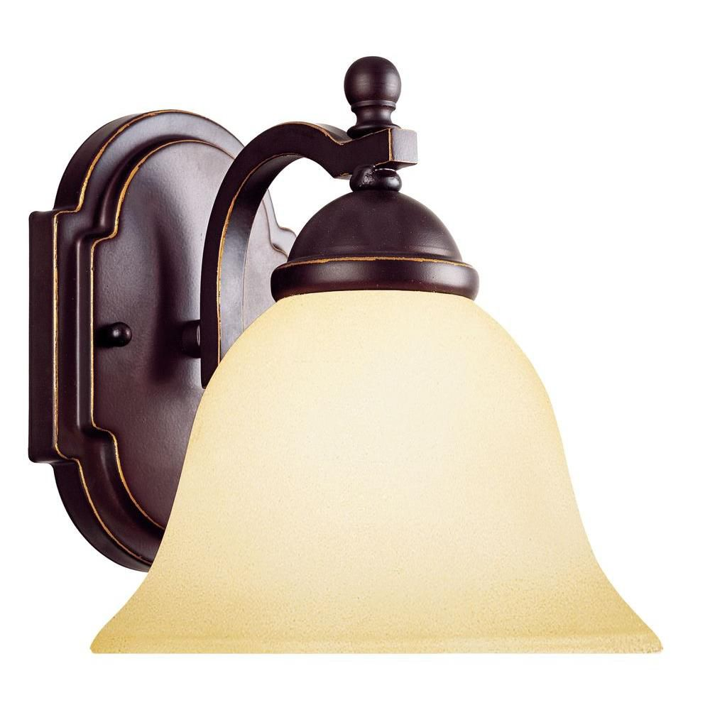 Satin 1-Light Black Wall Sconce with White Glass