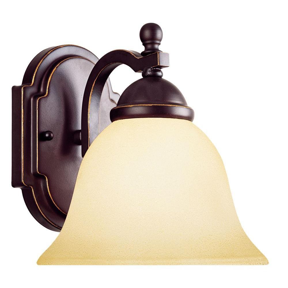 Illumine Satin 1-Light Black Wall Sconce with White Glass