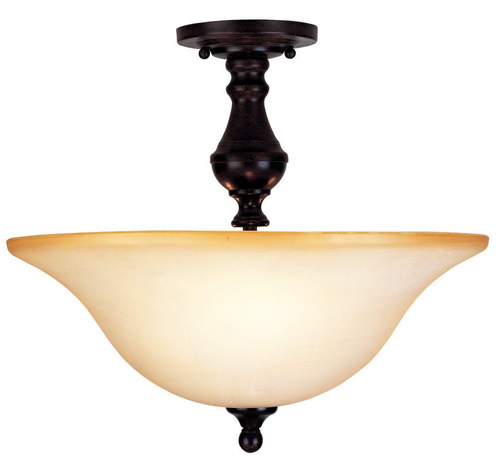 Satin 3-Light Bronze Semi-Flush Mount with White Glass
