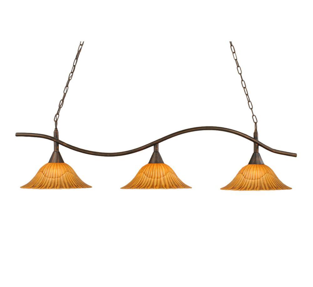 Concord 3 lumières plafond Bronze Incandescent Bar Billard avec un verre Tiger
