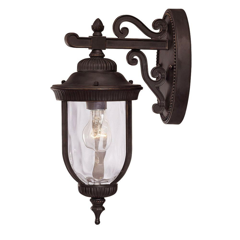 Satin 1 Light Black Halogen Outdoor Wall Mount With Clear Glass